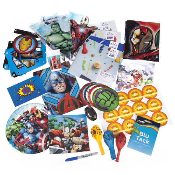 Avengers party box contents